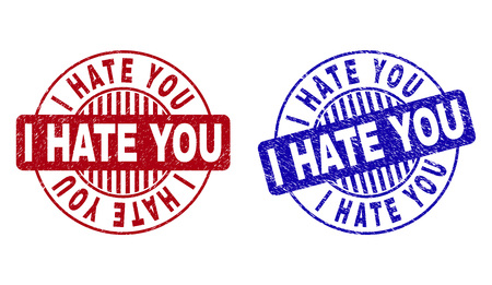 Illustration pour Grunge I HATE YOU round stamp seals isolated on a white background. Round seals with distress texture in red and blue colors. - image libre de droit