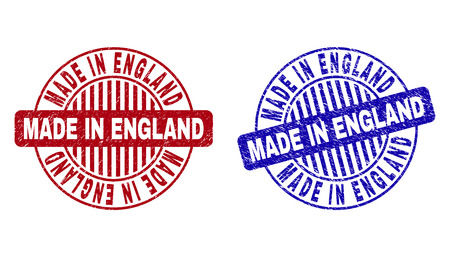 Grunge MADE IN ENGLAND round stamp seals isolated on a white background. Round seals with grunge texture in red and blue colors.