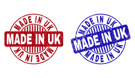 Grunge MADE IN UK round stamp seals isolated on a white background. Round seals with grunge texture in red and blue colors. Vector rubber imprint of MADE IN UK label inside circle form with stripes.