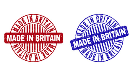 Grunge MADE IN BRITAIN round stamp seals isolated on a white background. Round seals with grunge texture in red and blue colors.