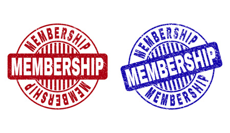 Illustration pour Grunge MEMBERSHIP round stamp seals isolated on a white background. Round seals with grunge texture in red and blue colors. Vector rubber overlay of MEMBERSHIP title inside circle form with stripes. - image libre de droit