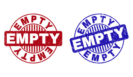 Grunge EMPTY round stamp seals isolated on a white background. Round seals with grunge texture in red and blue colors. Vector rubber imitation of EMPTY title inside circle form with stripes.