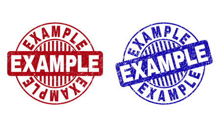 Grunge EXAMPLE round stamp seals isolated on a white background. Round seals with grunge texture in red and blue colors. Vector rubber watermark of EXAMPLE title inside circle form with stripes.
