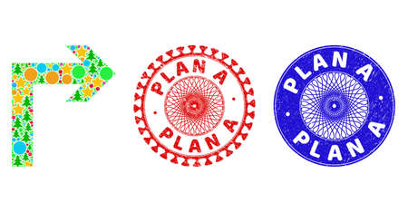 Turn right mosaic of Christmas symbols, such as stars, fir-trees, color round items, and PLAN A corroded stamp seals. Vector PLAN A stamps uses guilloche ornament, designed in red and blue variants.
