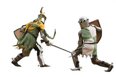 Two knights fighting  Isolated