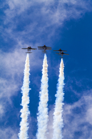 SPRINGBANK  CANADA - JUN 20, 2015: The Snowbirds Demonstration Team demonstrate the skill, professionalism, and teamwork of Canadian Forces personnel during the Wings Over Springbank.