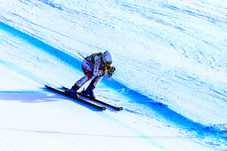 LAKE LOUISE, ALBERTA CANADA - DEC.7.2015. : 56 official entry speeds down the course during the Audi FIS Alpine Ski World Cup Ladies Super G race. The average speed is 110 km/h during the race.