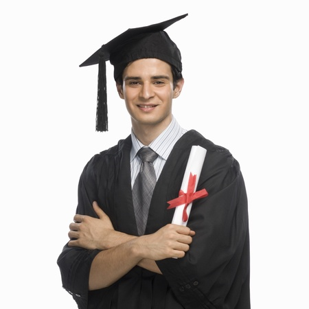 Portrait of a happy male graduate holding his diploma