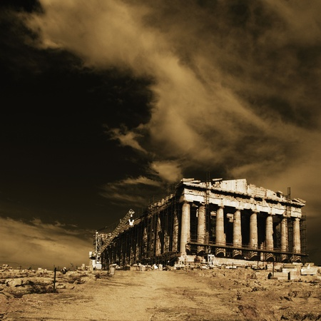 Ancient temple under renovation, Parthenon, Acropolis, Athens, Greece