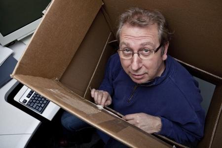 Businessman thinking inside the box