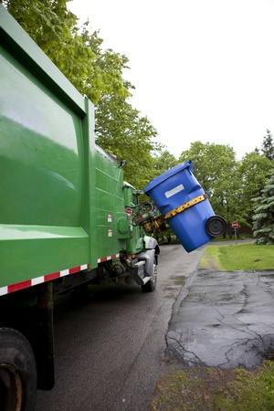 Recycling truck picking up bin - Vertical Version