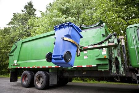 Recycling truck picking up bin - Horizontal Version