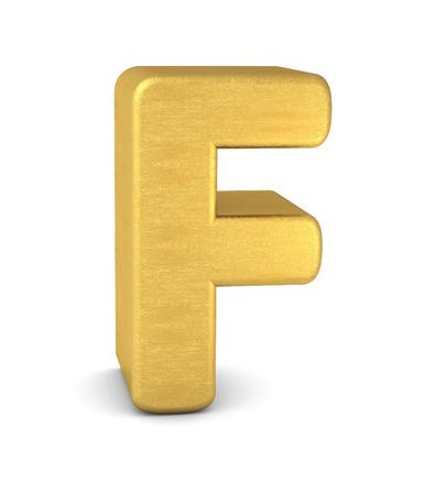 3d letter F gold