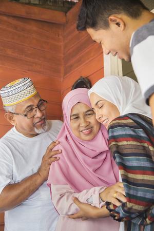 Photo pour Family members back home for Eid celebrations - image libre de droit