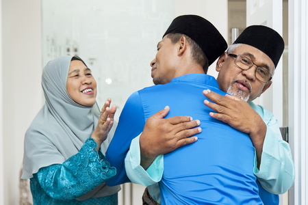 Photo for Muslim men greeting each other - Royalty Free Image