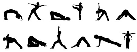 Silhouettes of people practising yoga