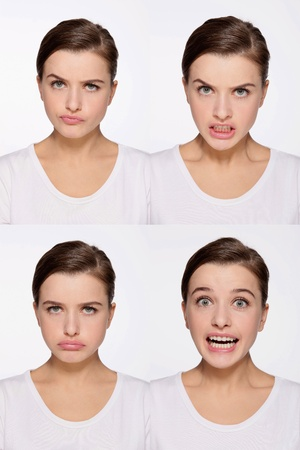 Montage of woman pulling different expressions