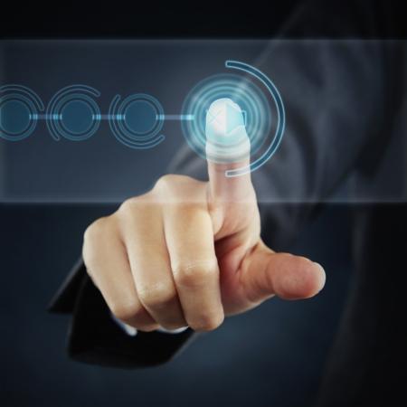 Photo pour index finger pointing at a Mute button - image libre de droit