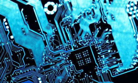 Foto de blue computer circuit board background - Imagen libre de derechos