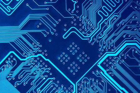 Photo pour Abstract blue computer circuit board close up for background. - image libre de droit