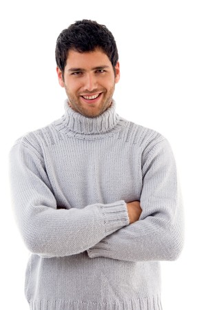 handsome man wearing woolen sweater on an isolated background