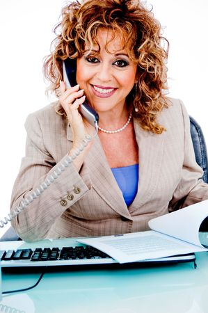Corporate woman busy with file work and answering calls