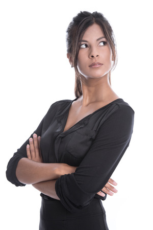 Isolated young businesswoman in a black outfit - sceptical and pessimistic