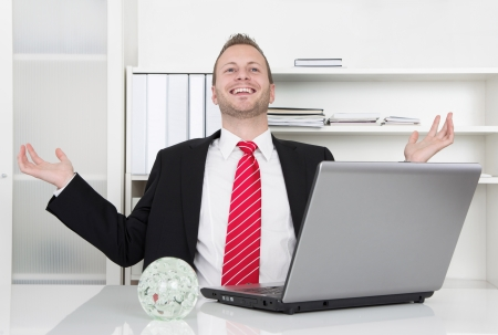 Successful businessman laughing with hands up and laptop - perfect day
