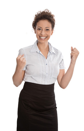 Successful businesswoman  - jumping for joy with fists  isolated on white background - successful day