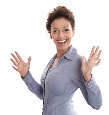 Successful businesswoman in blue turning towards camera with hand gesture isolated on white background - success or perfect day