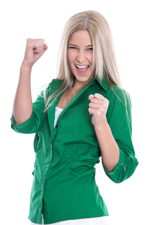 Isolated successful businesswoman  - jumping for joy with fists