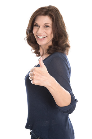 Happy isolated mature woman in the fifties isolated over white background.