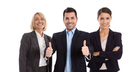 Gender equality: one man with two business woman isolated over white background.