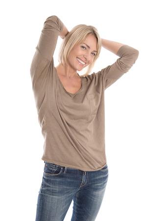 Foto für Portrait of a satisfied isolated attractive and mature blond woman over white. - Lizenzfreies Bild