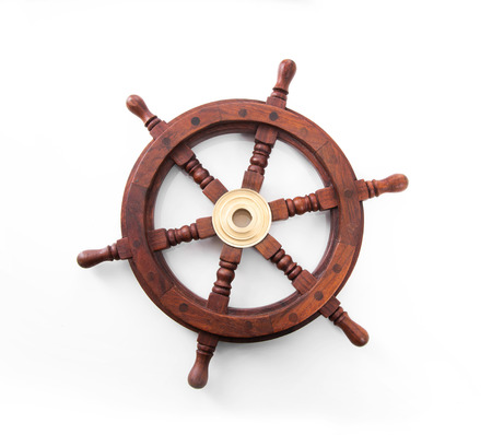 Old boat steering wheel isolated on the white background.