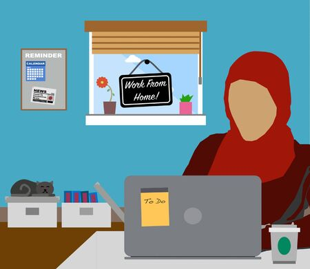 Illustration pour Work From Home. Female Muslim wearing Hijab working at home. Covid-19 Coronavirus Freelance Concept. - image libre de droit