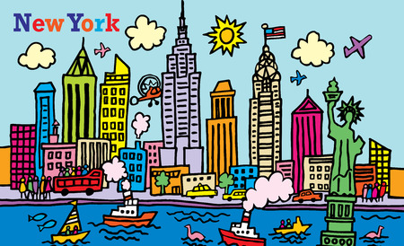 A cartoon style illustration of New York, City