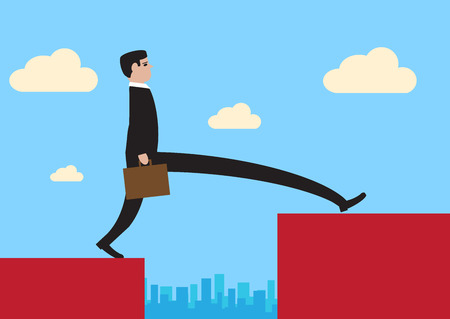 illustration of a businessman, stepping across a large divide