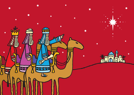 A hand drawn vector illustration of the three wise men following a star.