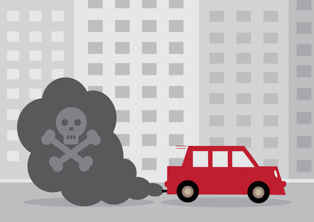 A diesel cars toxic exhaust fumes containing a by a skull and cross bones.
