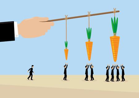 Vektor für A large hand holds a carrots on a stick. A metaphor on management, incentive and leadership. - Lizenzfreies Bild