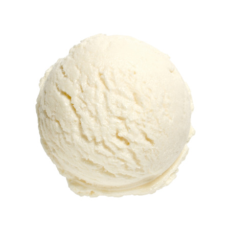 Scoop of vanilla ice cream on white background with clipping path