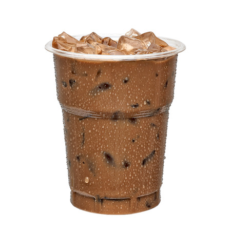 Iced coffee in take away cup isolated on white background