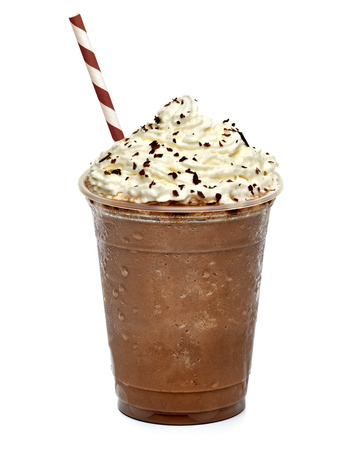 Coffee in takeaway cup with straw isolated on white background