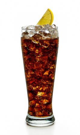 Cola with ice and lemon in tall glass on white background