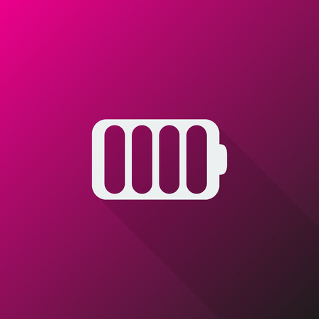 White Battery icon on pink background