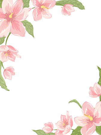 Illustration for Corner frame template with sakura magnolia hellebore flowers on white background. Vertical portrait orientation. Vector design illustration floral garland element for decoration, card, invitation. - Royalty Free Image