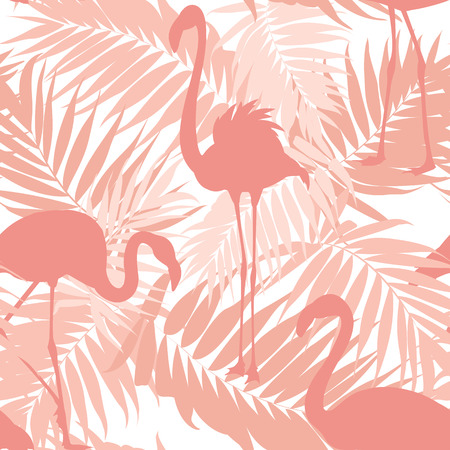 Illustration for Tropical palm leaves and exotic flamingo birds seamless pattern. Pink sunset beach concept. Overlapping objects repeat ornament texture. Vector design illustration. - Royalty Free Image