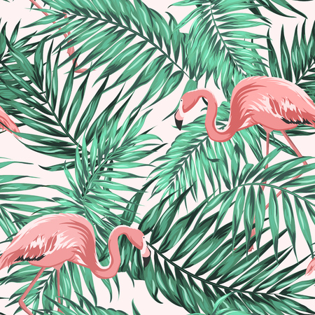 Illustration for Bright green tropical jungle rainforest palm tree leaves. Pink exotic flamingo wading birds couple. Seamless pattern texture on light beige background. Vector design illustration. - Royalty Free Image