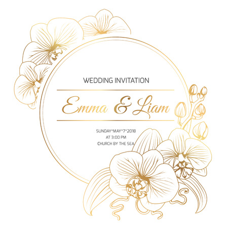 Foto de Phalaenopsis orchid flowers border frame decoration. Wedding marriage event invitation template. Modern luxury bright shiny golden gradient. Title text placeholder. Vector design illustration. - Imagen libre de derechos